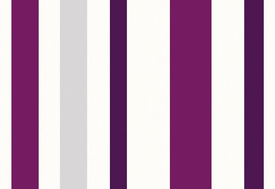 vliestapete schoener wohnen unitapete 3 weiss lila streifen dessin - Tapete Lila Streifen