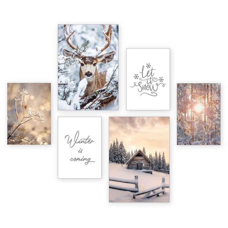 Kreative Feder Poster »Winter«, Natur (Set, 6 Stück), 6-teiliges Poster-Set, Kunstdruck, Wandbild, Posterwand, Bilderwand, optional mit Rahmen, WP514