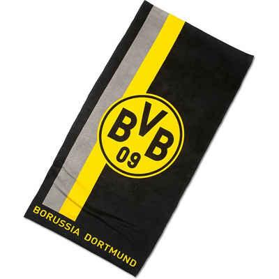 Borussia Dortmund Badetücher »BVB-Duschtuch mit Logo im Streifenmuster 70x140cm«