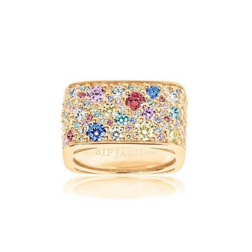 Sif Jakobs Jewellery Fingerring »NOVARA QUADRATO«, 18K vergoldet mit bunten gefassten Zirkonia