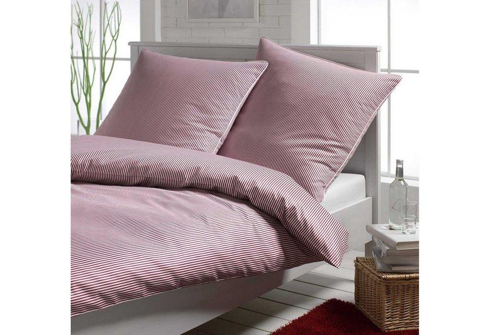 Bettwäsche, Elegante, »Hamburger Streifen«, edles Design in Rot