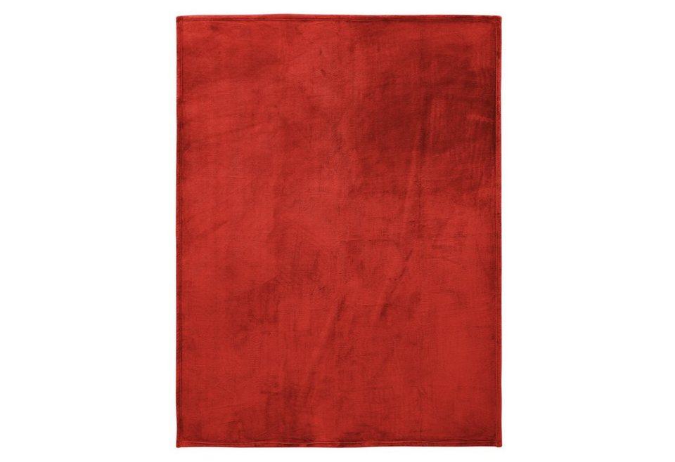 Wohndecken, Irisette, »Castel«, mit schmaler Einfassung in rot