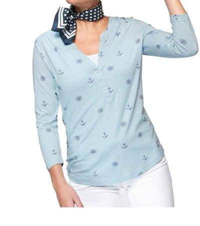TOM TAILOR Shirttop »TOM TAILOR Träger-Top lässiges Damen Sommer-Shirt mit Muster Freizeit-Shirt Blau«