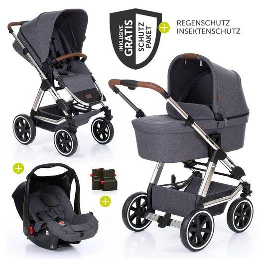 ABC Design Kombi-Kinderwagen »Viper 4 - Diamond Special Edition - Asphalt«, (9-tlg), 3in1 Set inkl. Babywanne, Autositz, Sportwagen und XXL Zubehörpaket