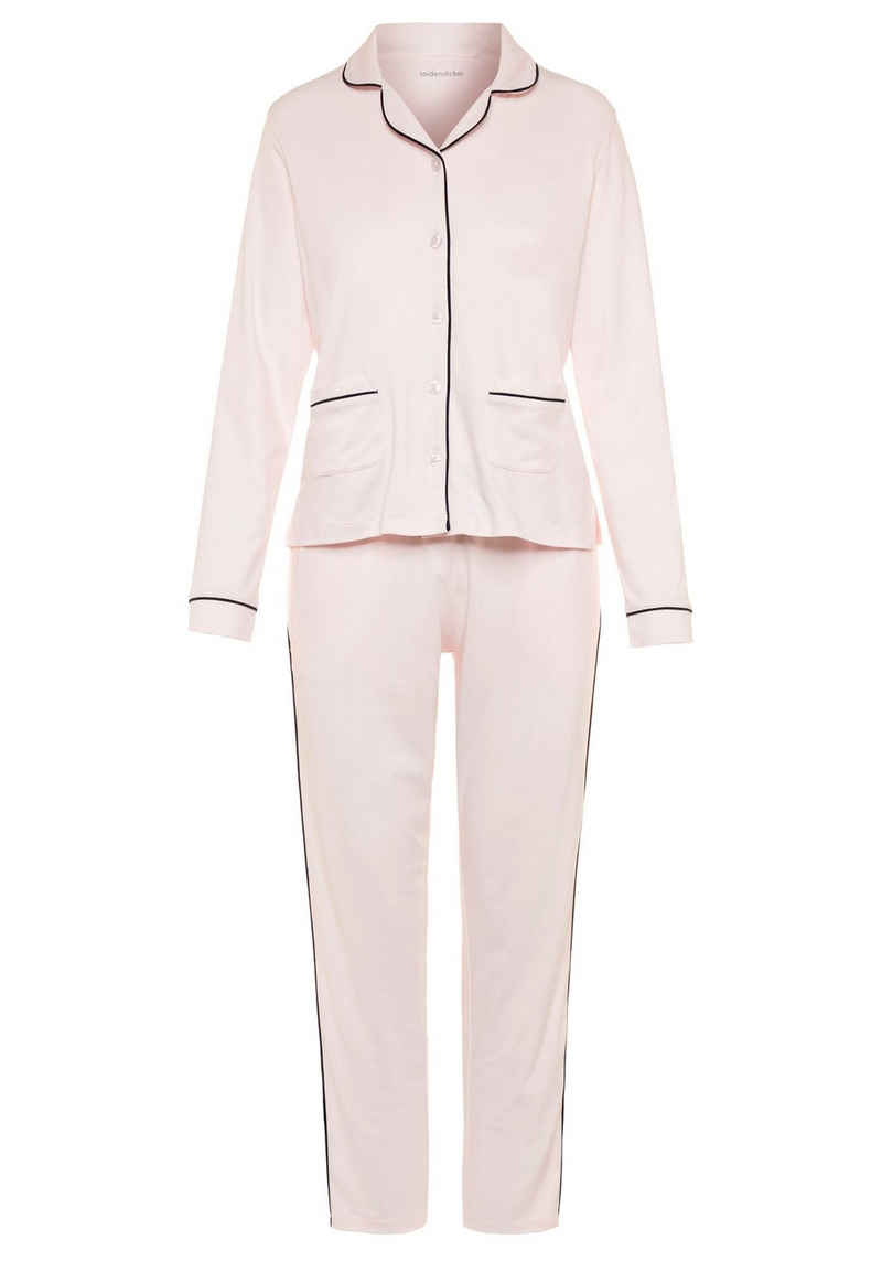 seidensticker Pyjama mit Kontrastpaspel-Details