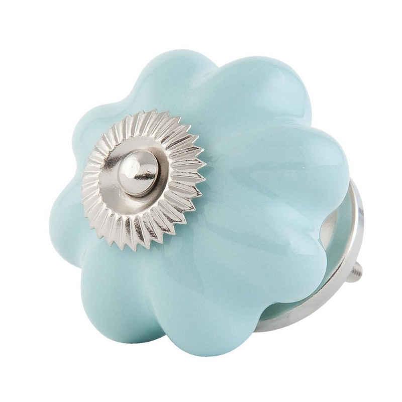 Clayre & Eef Möbelknopf »Schrankknopf KOPENHAGEN hellblau silber aus Keramik Schrankgriff Blume Blüte«