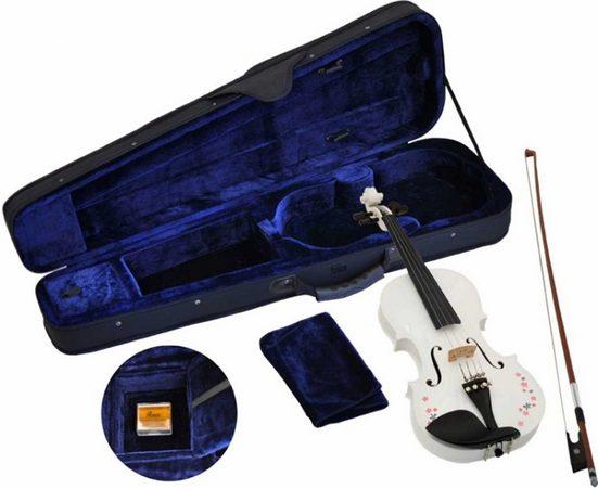 Steinbach Violine »Steinbach 1/16 Geige im SET weiß mit Blumendekor handgearbeitet« 1/16