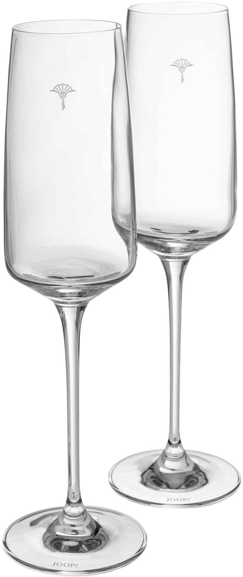 Joop! Champagnerglas »JOOP! SINGLE CORNFLOWER«, Kristallglas, mit einzelner Kornblume als Dekor, 2-teilig