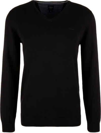 s.Oliver V-Ausschnitt-Pullover Unifarben