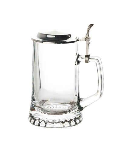 BigDean Bierkrug »Bierseidel Sternboden 0,5L Stern Krug mit Deckel Bierglas Biergläser«, Glas