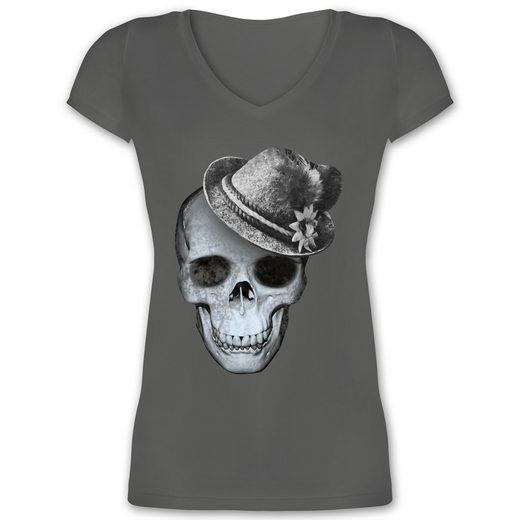 Shirtracer T-Shirt »Totenkopf mit Filzhut - Damen T-Shirt mit V-Ausschnitt - T-Shirts« Oktoberfest Damen