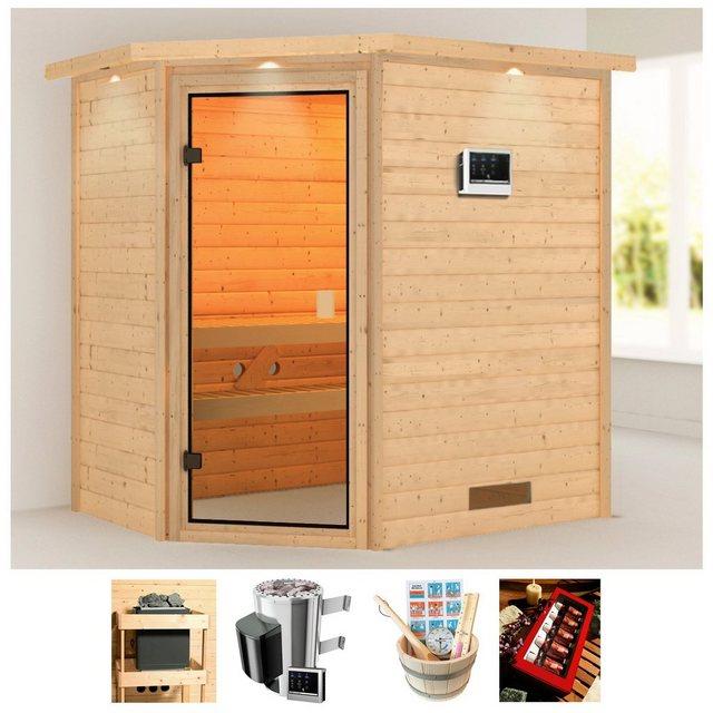 Saunen und Zubehör - KARIBU Sauna »Juli«, 223x159x191 cm, 3,6 kW Plug Play Ofen, ext. Strg., Dachkranz  - Onlineshop OTTO