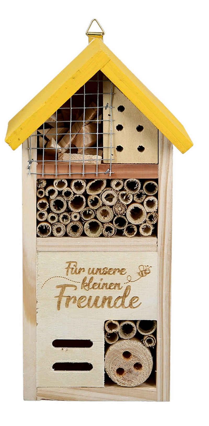 dekojohnson Gartenfigur »Insektenhotel Insektenhaus Gartendeko gelb 14x26cm«