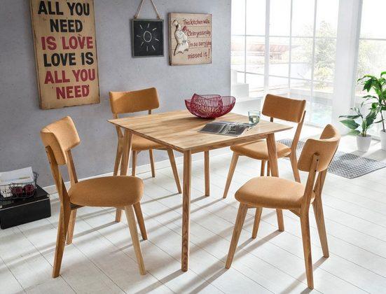 expendio Essgruppe »Thiago«, (Spar-Set, 3-tlg), Massivholztisch Eiche natur 90x90 cm + Stühle Norina 32 Masada orange