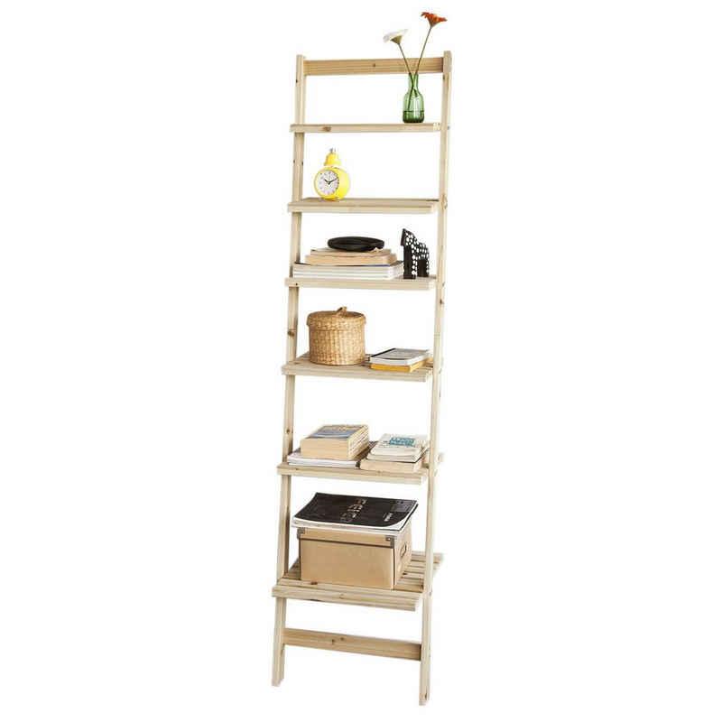 SoBuy Leiterregal »FRG161«, Badregal Bücherregal mit sechs Böden Spießtannenholz