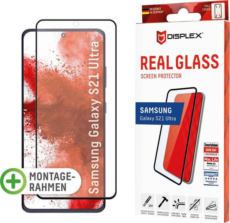Displex »DISPLEX Real Glass Panzerglas für Samsung Galaxy S21 Ultra 5G (6,8), 10H Tempered Glass, mit Montagerahmen, Full Cover« für Samsung S21 Ultra, Displayschutzglas, 1 Stück