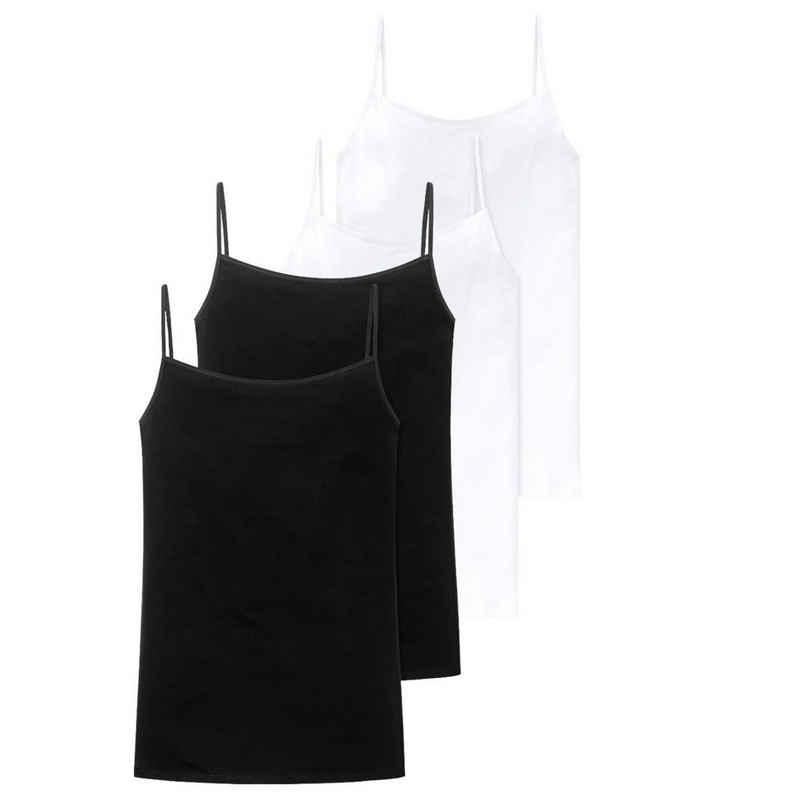 Schiesser Unterhemd »4er Pack Cotton Essentials« (4 Stück), Spaghettitop - Höchster Tragekomfort, Pures Design mit schmalen Trägern, Aus weichem, elastischem Single Jersey