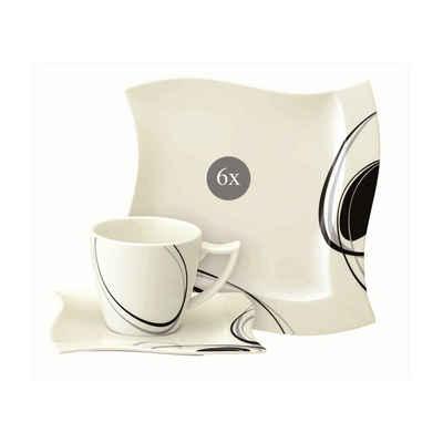 Neuetischkultur Kaffeeservice »Kaffeeservice schwarz-weiß 18-tlg. Scarlett« (18-tlg), Porzellan