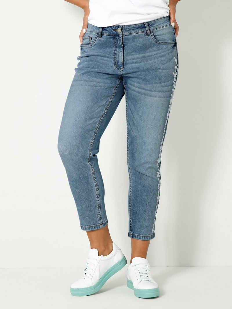 Angel of Style 5-Pocket-Jeans mit Schriftzug Print seitlich