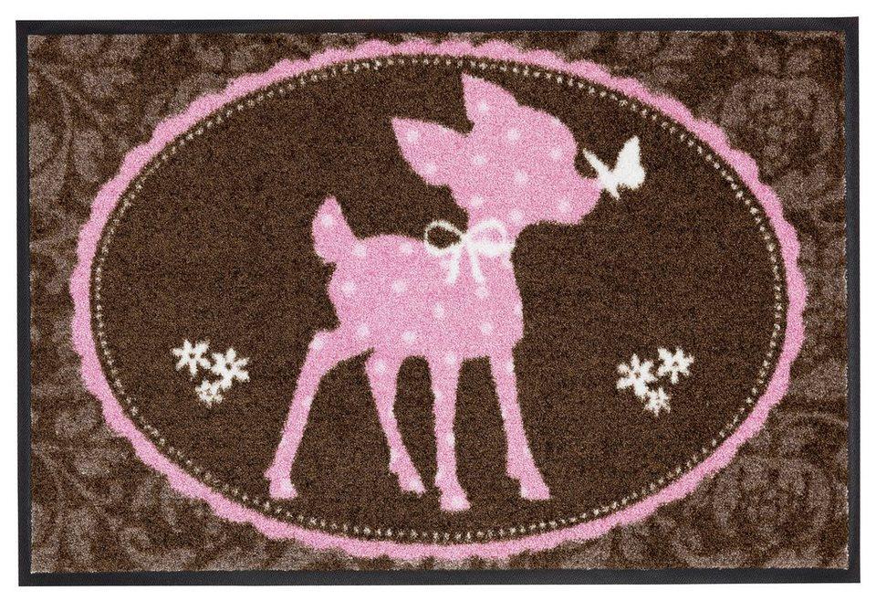 Fußmatte, Salonloewe »Bambi« in braun/rosa