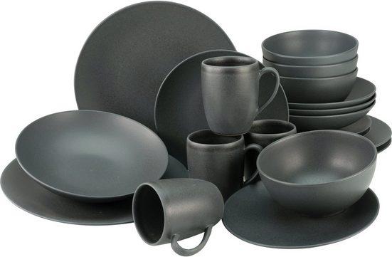 CreaTable Kombiservice »Soft Touch Black« (20-tlg), Steinzeug, seidenmatte Glasur