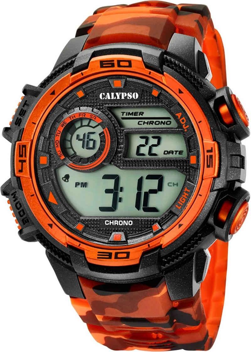 CALYPSO WATCHES Digitaluhr »UK5723/5 Calypso Herren Uhr K5723/5 Kunststoffband«, (Digitaluhr), Herren Armbanduhr rund, Kunststoff, PURarmband schwarz, orange, Sport