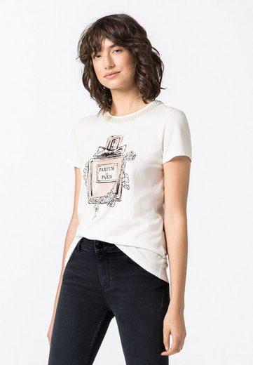 HALLHUBER T-Shirt »aus Bio-Baumwolle mit Print & Perlen«