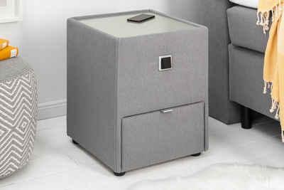 riess-ambiente Nachttisch »VICE 43cm grau«, Nachtkommode · Microfaser-Bezug · mit Schublade · indirekte Beleuchtung