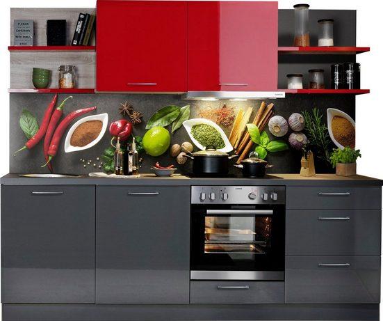 Express Küchen Küchenzeile »Jena«, mit E-Geräten, vormontiert, mit Soft-Close-Funktion, Stellbreite 240 cm
