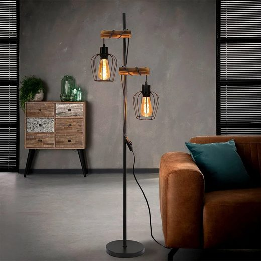 ZMH Stehlampe »ZMH Vintage Stehlampe Wohnzimmer 2 flammige Holz Retro Standleuchte im Industrial Design aus Metall und Holz - inkl. Schalter - Schwarz - Fassung: E27 - Höhe: 163cm - ohne Leuchtmittel«