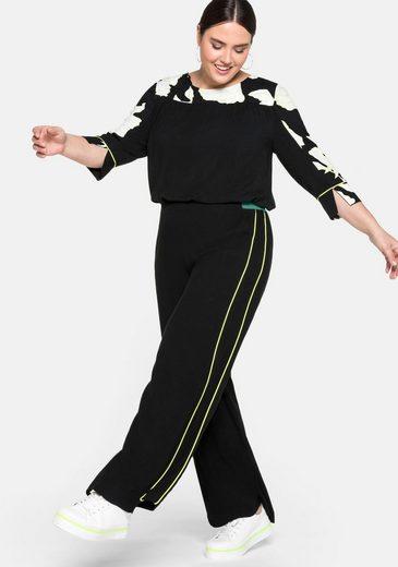 Sheego Schlupfhose mit Kontrastbund und seitlichen Paspeln