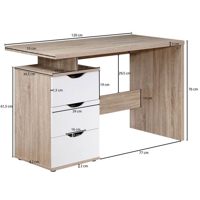 Kindertische - Wohnling Schreibtisch »WL1.795«, SAMO 120 x 76 x 53 cm mit 3 Schubladen in Sonoma Weiß Computertisch modern für Jugendliche Laptoptisch platzsparend mit Ablage  - Onlineshop OTTO