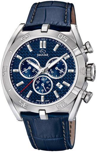 Jaguar Chronograph »UJ857/2 Jaguar Herren Uhr Sport Quarz J857/2 Leder«, (Chronograph), Herren Armbanduhr rund, extra groß (ca. 46mm), Lederarmband blau