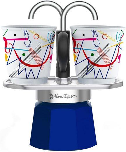 BIALETTI Espressokocher Mini Express Kandinsky, 0,09l Kaffeekanne, (1 Espressokocher + 2 Espressobecher, 90 ml)