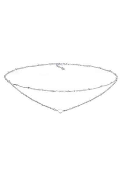 Elli Collier »Choker Layer Kugelkette Herz 925 Silber«