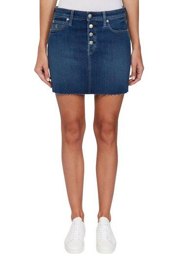 Calvin Klein Jeans Jeansrock »MID RISE MINI SKIRT« mit leicht ausgefranstem Saum