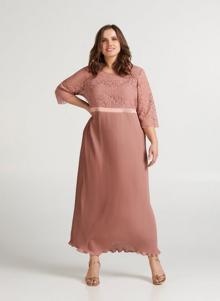 Festtagsmode - Zizzi Abendkleid Große Größen Damen Kleid mit Spitze und Plissée ›  - Onlineshop OTTO