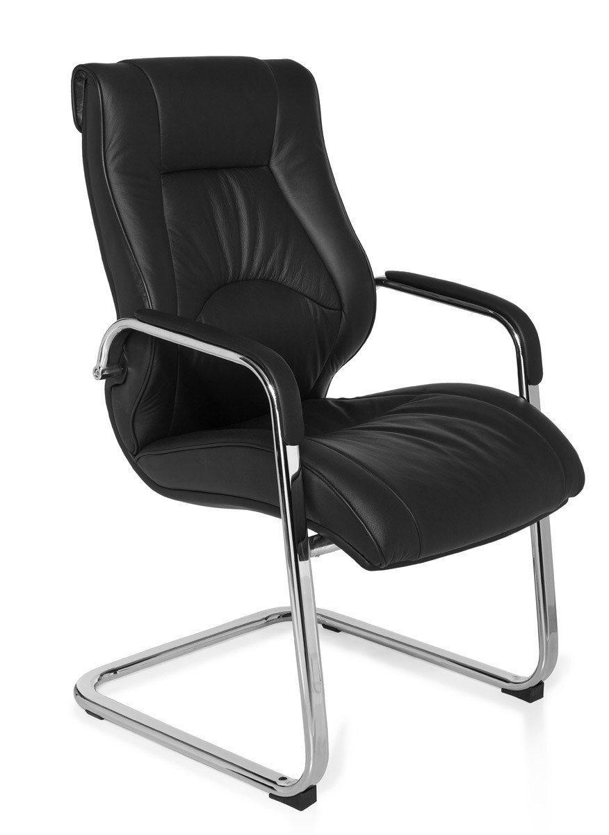 FineBuy Freischwinger Kunstleder Weiß Besucherstuhl mit Armlehne Stuhl 120 kg
