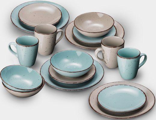 Kombiservice »Puro« (32-tlg), Steinzeug, Farbset in Türkis und Beige, vom Sternekoch Thomas Wohlfarter empfohlen