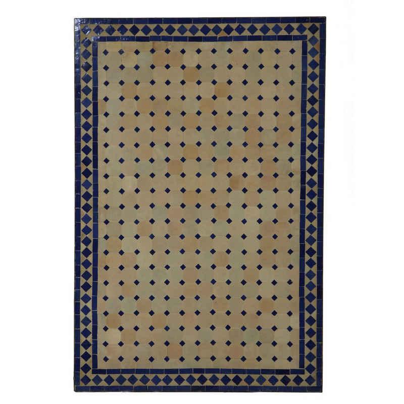 Casa Moro Gartentisch »Marokkanischer Mosaiktisch 120x80 cm rechteckig blau terrakotta mit Gestell H 73 cm Dekorativer Gartentisch Esstisch Balkontisch Bistrotisch Kunsthandwerk aus Marrakesch MT2120«, Handmade