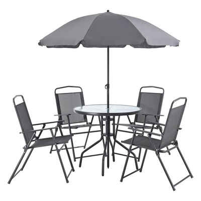 en.casa Gartenmöbelset, (6-tlg), »Milagro« Sitzgruppe Tisch mit 4 Stühlen und Sonnenschirm Lounge Garnitur dunkelgrau