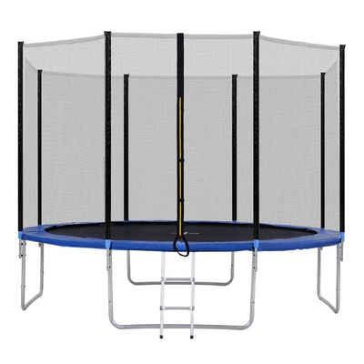 Flieks Gartentrampolin »Jump High«, Ø 366,00 cm, Outdoor-Trampolin mit Sicherheitsnetz und Leiter, 12 FT Gartentrampolin, tragend 150 kg