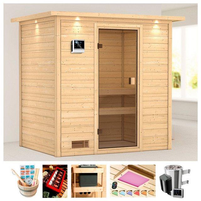 Saunen und Zubehör - KARIBU Sauna »Rügen 2«, 223x159x191 cm, 3,6 kW Plug Play Ofen, ext. Strg., Dachkranz  - Onlineshop OTTO