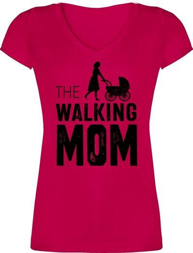 Shirtracer T-Shirt »The walking Mom - Muttertagsgeschenk - Damen T-Shirt mit V-Ausschnitt«