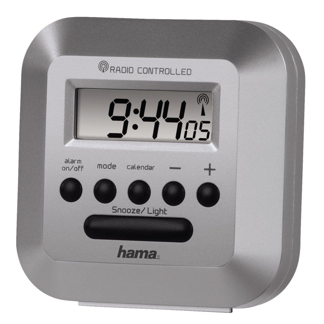 """Hama Funkwecker """"RC40""""mit Hintergrundbeleuchtung, silber »Uhr-/Kalender- u. Weckfunktion«"""
