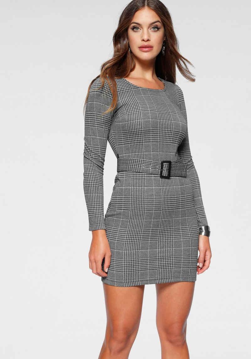 Melrose Jerseykleid mit abnehmbarem Gürtel und Karo-Muster