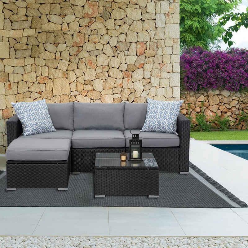 MeXo Gartenmöbelset, Gartenmöbel Polyrattan Lounge Set Möbel Schnittsofa für 3-4 Personen Sessel Kaffeetisch Polsterhocker Schwarz & Grau