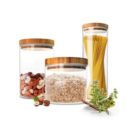 Sendez Vorratsdose »3 Vorratsdosen Set mit Deckel Vorratsbehälter Vorratsdose Vorratsgläser aus Glas«