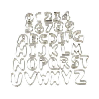 relaxdays Ausstechform »Plätzchen Ausstecher Buchstaben & Zahlen«, Edelstahl