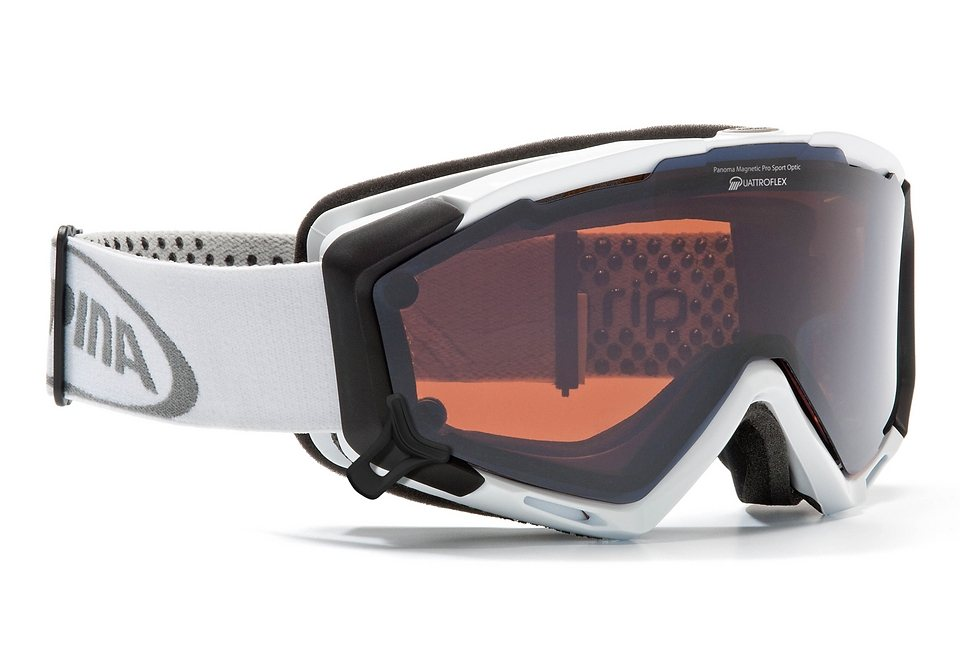 Skibrille weiß, Alpina, »PANOMA S Magnetic«, Made in Germany
